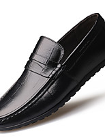 Men's Loafers & Slip-Ons Moccasin Driving Shoes Comfort Fall Winter Real Leather Leather Casual Office & Career Ruffles Flat Heel Brown