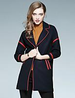 EWUS Women's Casual/Daily Work Street chic Fall CoatSolid Striped Notch Lapel Long Sleeve Regular Wool Polyester