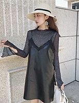 Women's Going out Simple Sophisticated Fall T-shirt Skirt Suits,Solid Stand Long Sleeve Stretchy