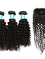 Human Hair Peruvian Hair Weft with Closure Kinky Curly Hair Extensions Four-piece Suit Black