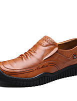 Men's Shoes Nappa Leather Spring Fall Comfort Loafers & Slip-Ons Split Joint For Casual Office & Career Red Brown Black