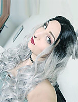 Women Synthetic Wig Capless Long Wavy Black/Grey Ombre Hair Dark Roots Middle Part Natural Wigs Costume Wig