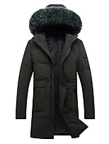 Men's Long Down Coat,Simple Street chic Plus Size Casual/Daily Solid-Cotton Polypropylene Long Sleeves