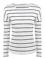 Women's Holiday Casual/Daily Simple Street chic Fall T-shirt,Striped Round Neck Long Sleeves Cotton