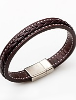 Men's Women's Leather Bracelet Simple Style Leather Round Jewelry For Gift Casual
