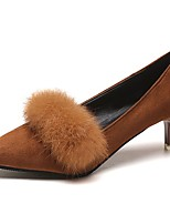 Women's Shoes Feather/ Fur Fall Comfort Heels Stiletto Heel Pointed Toe For Casual Brown Black