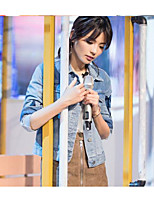 Women's Casual/Daily Street chic Spring Denim Jacket,Solid Square Neck ¾ Sleeve Regular Cotton