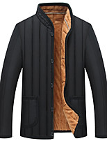 Men's Regular Padded Coat,Simple Casual/Daily Solid-Rayon Polyester Long Sleeves