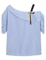 Для женщин На каждый день Лето Рубашка Вырез лодочкой,Простое Полоски С короткими рукавами,Полиэстер,Средняя