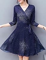 Gaine Robe Femme Sortie Grandes Tailles simple,Imprimé Col en V Au dessus du genou Demi Manches Polyester Automne Taille Normale Non