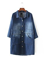 Women's Going out Casual/Daily Simple Spring Fall Denim Jacket,Solid Shirt Collar Long Sleeve Long Cotton Others