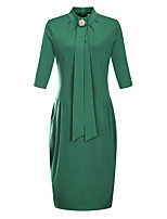 Women's Party Plus Size Sexy Simple T Shirt Dress,Solid Stand Knee-length 3/4 Length Sleeves Polyester Spring Fall Mid Rise Micro-elastic
