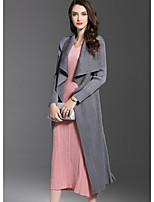 Women's Going out Street chic Fall Trench Coat,Solid Shirt Collar Long Sleeve Long Polyester