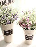 1 Peça 1 Ramo Couro Ecológico Plantas Flor de Mesa Flores artificiais