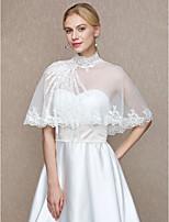 Women's Wrap Capelets Tulle Wedding Party/ Evening Applique Buttons