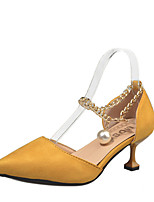 Women's Shoes PU Summer Comfort Heels Walking Shoes Stiletto Heel Round Toe Pearl For Casual Yellow Black