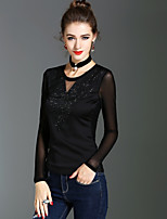 XSSL Women's Holiday Going out Sexy Cute Street chic Spring Fall T-shirtSolid Round Neck Long Sleeves Polyester Medium