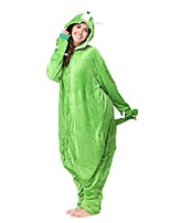 Kigurumi Pajamas Monster Leotard/Onesie Festival/Holiday Animal Sleepwear Halloween Green Animal Flannel Kigurumi For Unisex Halloween