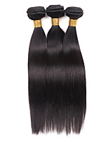Human Hair Brazilian Natural Color Hair Weaves Straight Hair Extensions 3 Pieces Black