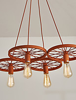 Four Heads Macaron Orange Color Vehicle Wheel Pendant Lamp for the Living Room / Bedroom /Canteen Room Decorate Creative Drop Light