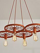 vier Köpfe Makkaron orange Farbe Fahrzeug Rad Pendelleuchte für das Wohnzimmer / Schlafzimmer / Kantine Zimmer dekorieren kreative Tropfen
