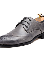 Men's Shoes Leatherette Fall Winter Formal Shoes Oxfords Lace-up For Wedding Party & Evening Burgundy Gray Black
