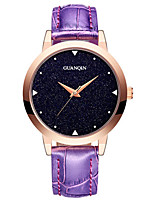 Women's Fashion Watch Quartz Leather Band Black White Blue Red Purple