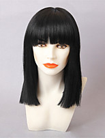 Women Human Hair Capless Wigs Black Long Straight