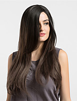 Women Synthetic Wig Capless Long Straight Brown Ombre Hair Natural Wigs Costume Wig