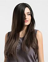 Donna Parrucche sintetiche Senza tappo Lungo Lisci Marrone Capelli schiariti Parrucca naturale Parrucca per travestimenti