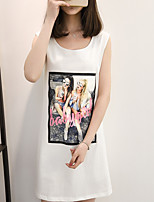 Women's Going out Cute Street chic Spring Summer T-shirt,Print Round Neck Sleeveless Others Medium