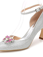 Women's Shoes Glitter Spring Fall Basic Pump Ankle Strap Wedding Shoes Stiletto Heel Pointed Toe Rhinestone Crystal Sparkling Glitter For