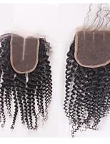 8-20inch natürliches kinky lockiges remy Menschenhaar 4x4inch Spitzeverschlussbabyhaar-Bleichmittelknoten