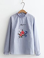 Women's Going out Casual/Daily Sexy Simple Street chic Spring Fall Shirt,Solid Embroidery Stand Long Sleeves Cotton Others Thin Medium