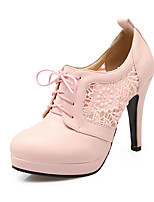 Women's Shoes PU Spring Fall Comfort Heels Stiletto Heel Round Toe Lace-up For Outdoor Office & Career Blushing Pink Black White