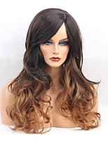 Women Synthetic Wig Capless Long Wavy Dark Brown/Medium Auburn Side Part Ombre Hair With Bangs Natural Wigs Costume Wig