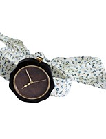 Women's Fashion Watch Wood Watch Japanese Quartz Wooden Fabric Band Charm Unique Creative Elegant White