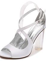 Damen Hochzeit Schuhe Knöchelriemen Transparente Schuh Pumps Frühling Sommer Satin Hochzeit Party & Festivität Kleid Strass Glitter