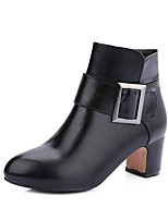 Women's Shoes Leatherette Winter Fashion Boots Bootie Boots Round Toe Booties/Ankle Boots Buckle For Casual Dress Red Gray Black