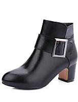 Femme Chaussures Similicuir Hiver Bottes à la Mode Botillons Bottes Bout rond Bottine/Demi Botte Boucle Pour Décontracté Habillé Noir