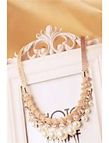 Women's Statement Necklaces Rhinestone Imitation Pearl Alloy Luxury Elegant Jewelry For Wedding Party