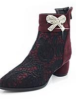 Femme Chaussures Dentelle Cuir Nubuck Automne Hiver Bottes à la Mode Bottes Gros Talon Bout pointu Bottes Mi-mollet Strass Noeud Fermeture