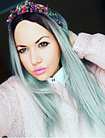 Women Synthetic Wig Capless Long Straight Mint Green African American Wig Ombre Hair Dark Roots Middle Part Natural Wigs Costume Wig