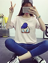 Women's Going out Casual/Daily Cute Summer T-shirt,Animal Print Round Neck Half Sleeves Cotton Opaque