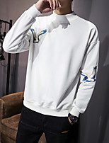 Men's Plus Size Plus Size Casual/Daily Simple Sweatshirt Solid Print Round Neck Micro-elastic Cotton Long Sleeve Spring Fall