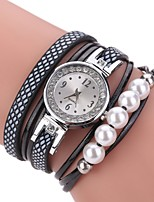 Damen Modeuhr Armband-Uhr Chinesisch Quartz Kalender PU Band Perlen Bettelarmband Bequem Elegante Schwarz Weiß Blau Rosa Lila