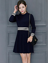 Women's Plus Size Going out Vintage Street chic Sheath Dress,Striped Round Neck Above Knee Long Sleeves Cotton Spandex All Seasons Mid