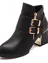 Feminino Sapatos Courino Outono Inverno Conforto Inovador Curta/Ankle Botas Salto Grosso Dedo Apontado Botas Curtas / Ankle Presilha Para