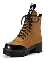 Femme Chaussures Daim Automne Hiver Nouveauté Bottes à la Mode boîtes de Combat Confort Bottes Gros Talon Bout rond Bottine/Demi Botte