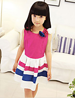 Girl's Birthday Back to School Casual/Daily Holiday Going out Striped Dress,Cotton Summer Sleeveless
